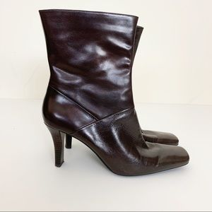 Nine West Square Toe Ankle Boots - Brown 10M